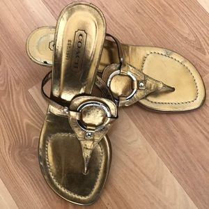 Coach Tricia gold O ring kitten heel sandal